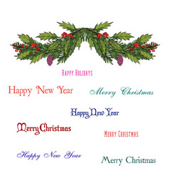 Christmas decoration with holly and spruce tree vector