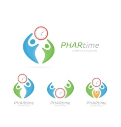 Clock and people logo combination Time and vector