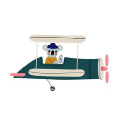 coala pilot flying on retro plane in sky cute vector image