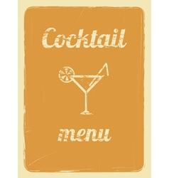 cocktail menu retro poster orange vector image