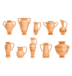 collection greek vases in ancient style vector image