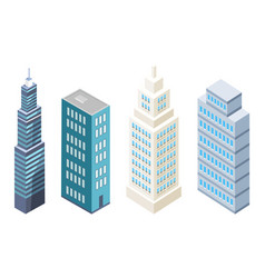 collection multi storey building modern skyscraper vector image