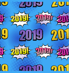 comic 2019 wordings seamless pattern vector image
