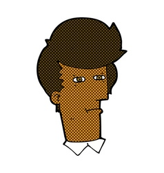 comic cartoon man narrowing eyes vector image