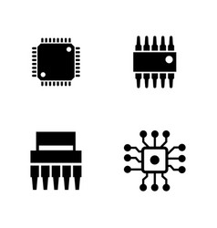 Computer chips simple related icons vector