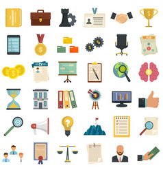 Corporate governance icons set flat style vector