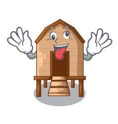 Crazy chicken in a wooden cartoon coop vector