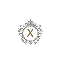 crown leaf logo initial x vector image