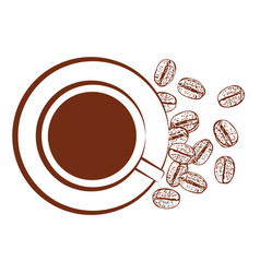 cup black coffee and scattered coffee beans vector image