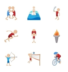Different sport icons set cartoon style vector