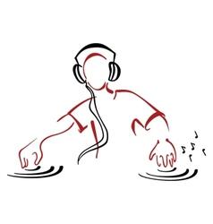 DJ behind console vector