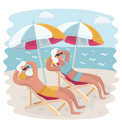 Elderly couple relaxing in their deck chairs vector