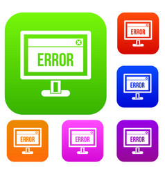 Error sign on a computer monitor set collection vector