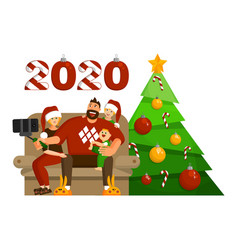 family celebration christmas or new year vector image