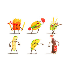 fast food dishes funny characters fighting set vector image