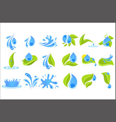 Flat set of blue drops and splashes with vector