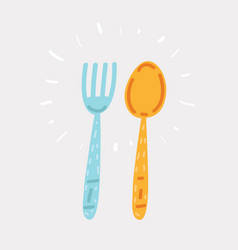 Fork and spoon hand drawing vector