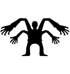 four arm man silhouette vector image