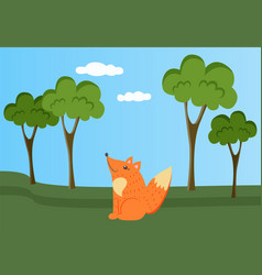 fox is resting in clearing wild animal in nature vector image