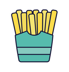 french fries in box fast food cartoon icon style vector image
