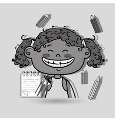 Girl cartoon child notebook vector