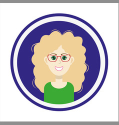 Girl face with blond long hair and glasses vector