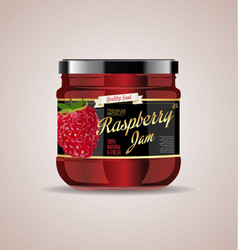 glass jar mockup raspberry package design 3 vector image