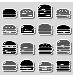 Hamburgers types fast food black and gray stickers vector