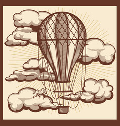 hand drawn clouds and air balloon vintage vector image