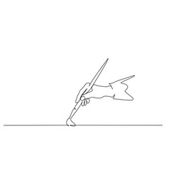 Hand holding paint brush and painting one line vector