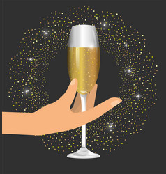 Hand with champage glass to celebrate new year vector