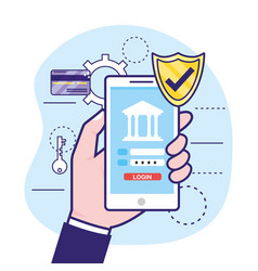 hand with smartphone and bank security password vector image