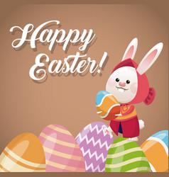 Happy easter card rabbit girl egg festive vector