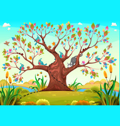 Happy tree with birds insects and cat vector