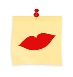 Imprinted kiss on yellow sticky note attached vector