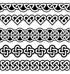 irish celtic seamless patterns vector image