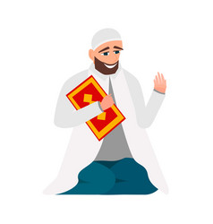 islamic man in a white robe with karan pray vector image