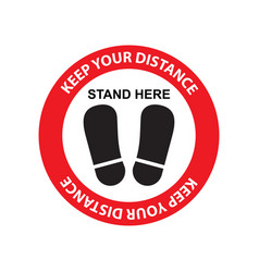 Keep your distance sign sticker for reopening vector