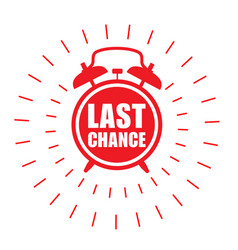 Last chance sticker - sale label with alarm clock vector