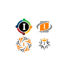 logotype i modern template set vector image