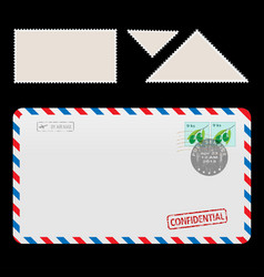 mail air envelope icon with set postal stamp vector image