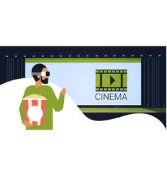 man holding popcorn basket wearing vr glasses vector image