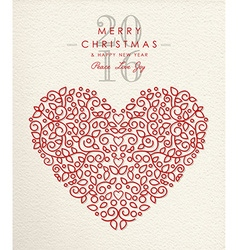 Merry christmas happy new year 2016 heart outline vector image