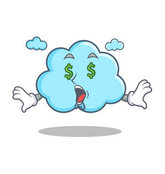 money eye cute cloud character cartoon vector image
