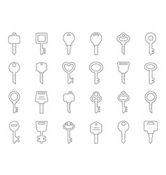 Mono line of keys for doors vector
