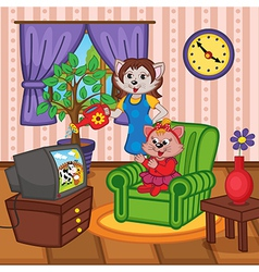 Mother cat watering flowers baby cat watching tv vector