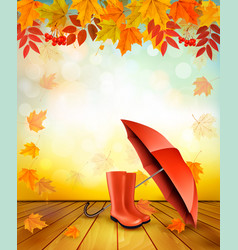 Nature autumn background with colorful leaves and vector