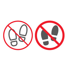 No shoes line and glyph icon prohibition vector
