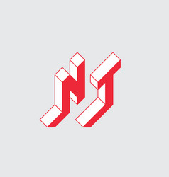 Nt - logo or 2-letter code isometric 3d font vector