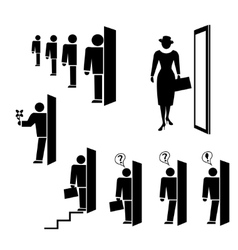 People icon set Exit entrance search symbols vector image